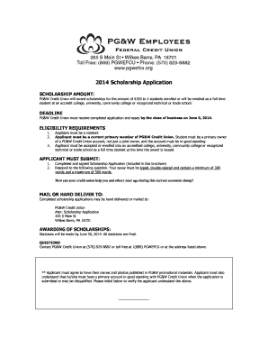 pgw credit union scholarship form