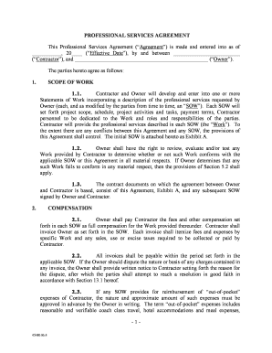 Printable Professional services agreement form - Edit, Fill Out ...