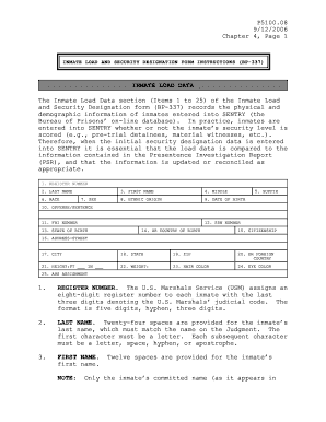 INMATE LOAD AND SECURITY DESIGNATION FORM INSTRUCTIONS ( BP -337)