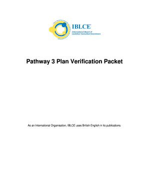 Pathway 3 Plan Verification Packet - iblce
