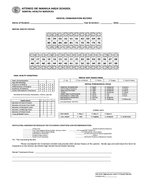 Fillable Online DENTAL EXAMINATION RECORD FORM.pdf - Ateneo de ...