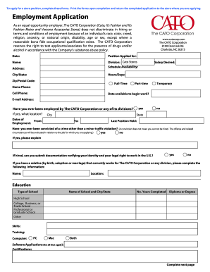 Cato Fashions Employment Application Fillable Employment