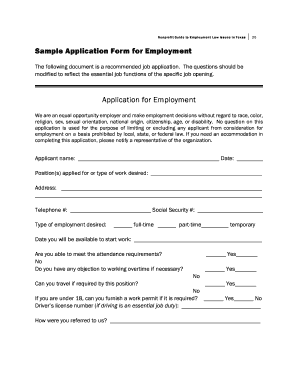 Sample Application Form for Employment Application for Employment - texascbar