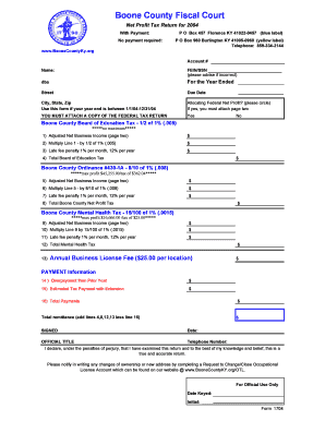 Fillable Online boonecountyky Net Profit Form 2004 - Boone