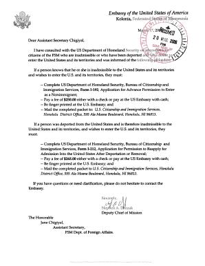 Fillable Online fsmembassydc DHS Form I-192 - Advance Permission ...