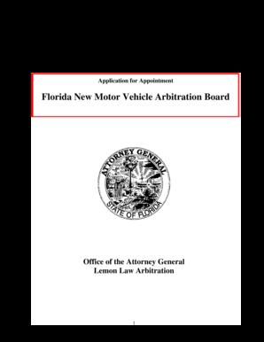 Fillable Online Florida New Motor Vehicle Arbitration