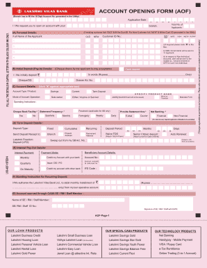 Deposit opening form of lvb fill online printable fillable blank pdffiller - Open post office savings account ...
