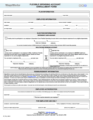 Fillable Online Flexible spending account enrollment form ...