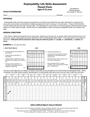 Life Skills Evaluation Form - Fill Online, Printable, Fillable ...