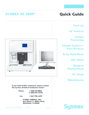 XE5000 Quick Guide.indd - Sysmex Center for Learning Center