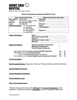 Psychiatric assessment template fill online printable for Mental health case study template