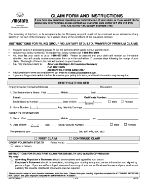 Fillable Online Allstate - Disability Claim Form ...