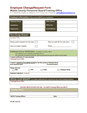 employee training request form Fillable Online personnelboard Employee Change/Request Form - Mobile ...