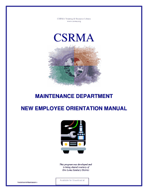 New Employee Orientation Manual - Maintenance Department. Form - print only