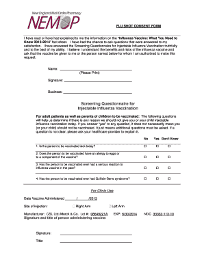 2015 Flu Vaccine Consent Form - Fill Online, Printable, Fillable ...