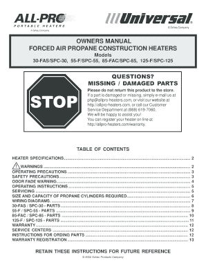 OWNERS MANUAL FORCED AIR PROPANE CONSTRUCTION HEATERS
