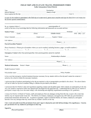 sample permission slips for field trips