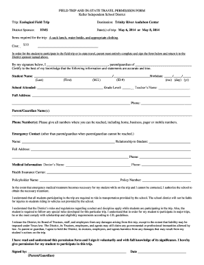 FIELD TRIP AND IN-STATE TRAVEL PERMISSION FORM