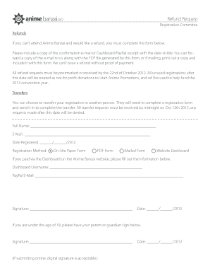 If you cant attend Anime Banzai and would like a refund, you must complete the form below - animebanzai