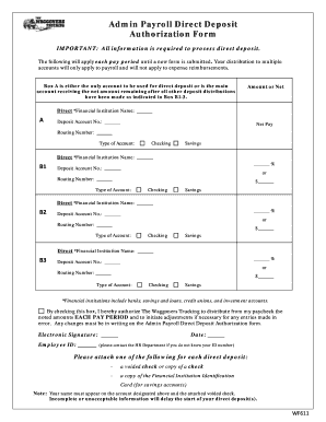 payroll direct deposit authorization form - Edit Online, Fill Out ...