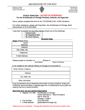 Stock donation - letter of intention - Archdiocese of Chicago