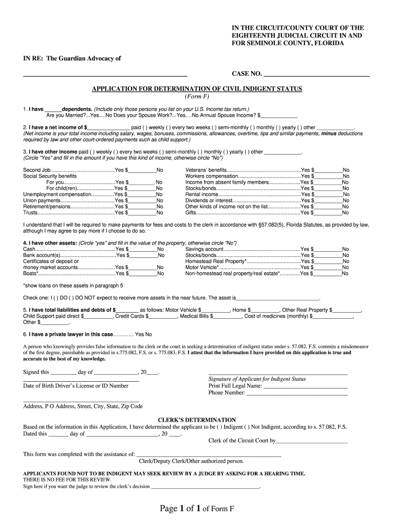 Fillable Online Flcourts18 Application For Determination Of Civil Indigent Status Seminole County Fl Form Fax Email Print Pdffiller