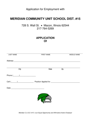 Application for Employment with MERIDIAN COMMUNITY UNIT SCHOOL DIST - meridian k12 il