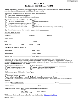 Truancy Form - Fill Online, Printable, Fillable, Blank | PDFfiller