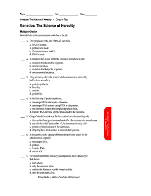 Fillable Online Dgs K12 Il Genetics The Science Of Heredity Chapter