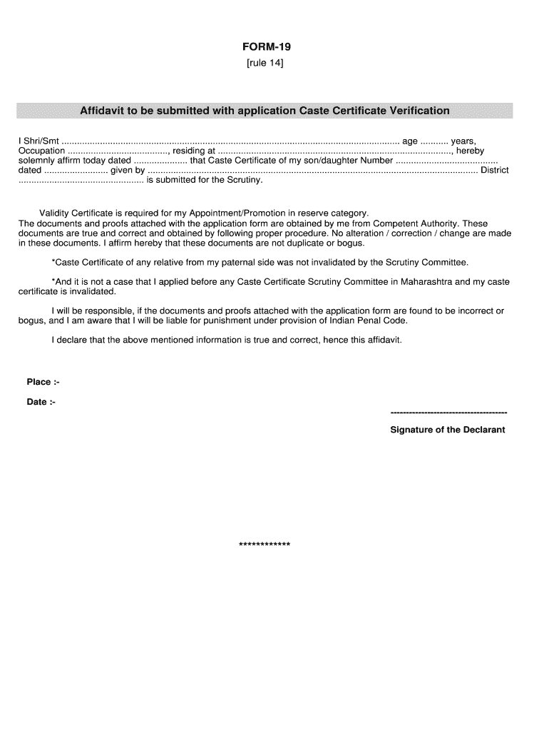 Caste Validity Certificate Online Application Form Pdf - Fill Online