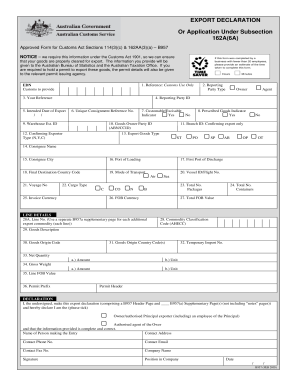 Form B957 - Export Declaration or Application Under Subsection ...