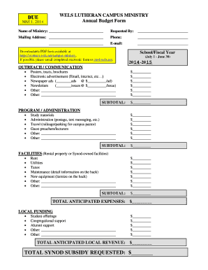 annual budget template form