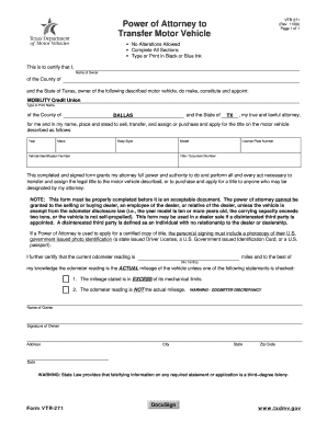 Bill of sale form texas power of attorney to transfer a for Power of attorney to transfer motor vehicle form