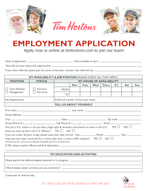 44565807 Job Application Form For Tim Hortons on blank generic, part time, free generic,