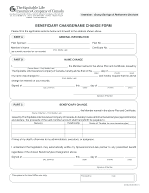 Fillable Online Beneficiary change/name change form - Equitable ...