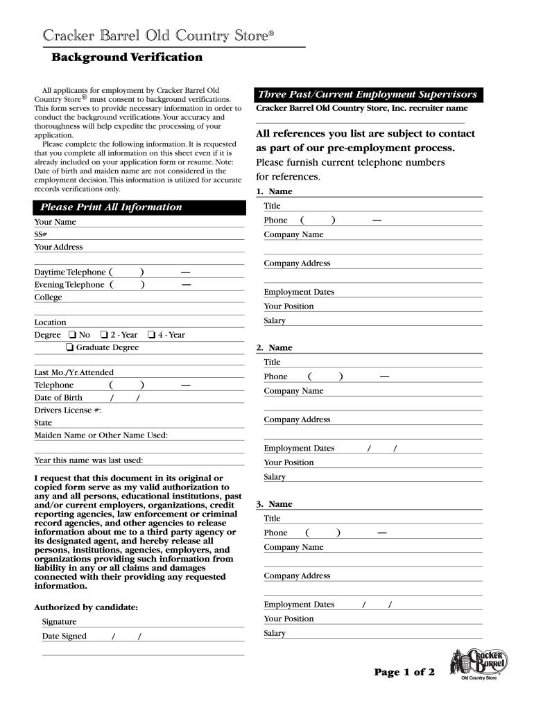Jobscrackerbarrelcom Fill Online Printable Fillable Blank