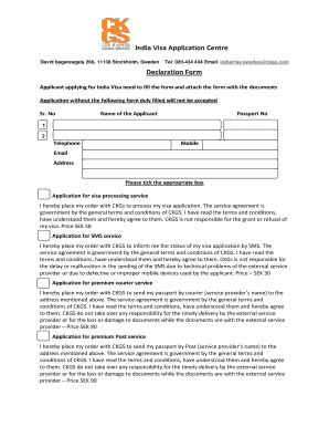 Fillable Online India Visa Application Centre Declaration Form Fax ...