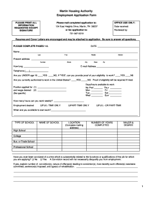 application for employment fill sample form