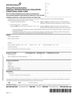 Short H&p Form - Fill Online, Printable, Fillable, Blank | PDFfiller