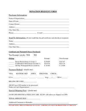 kalahari resort donation request form