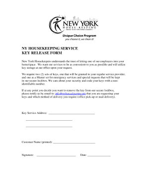 Fillable Online NY HOUSEKEEPING SERVICE KEY RELEASE FORM Fax Email ...