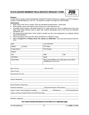 Fillable Online georgiapta State Board Member Field Service Request