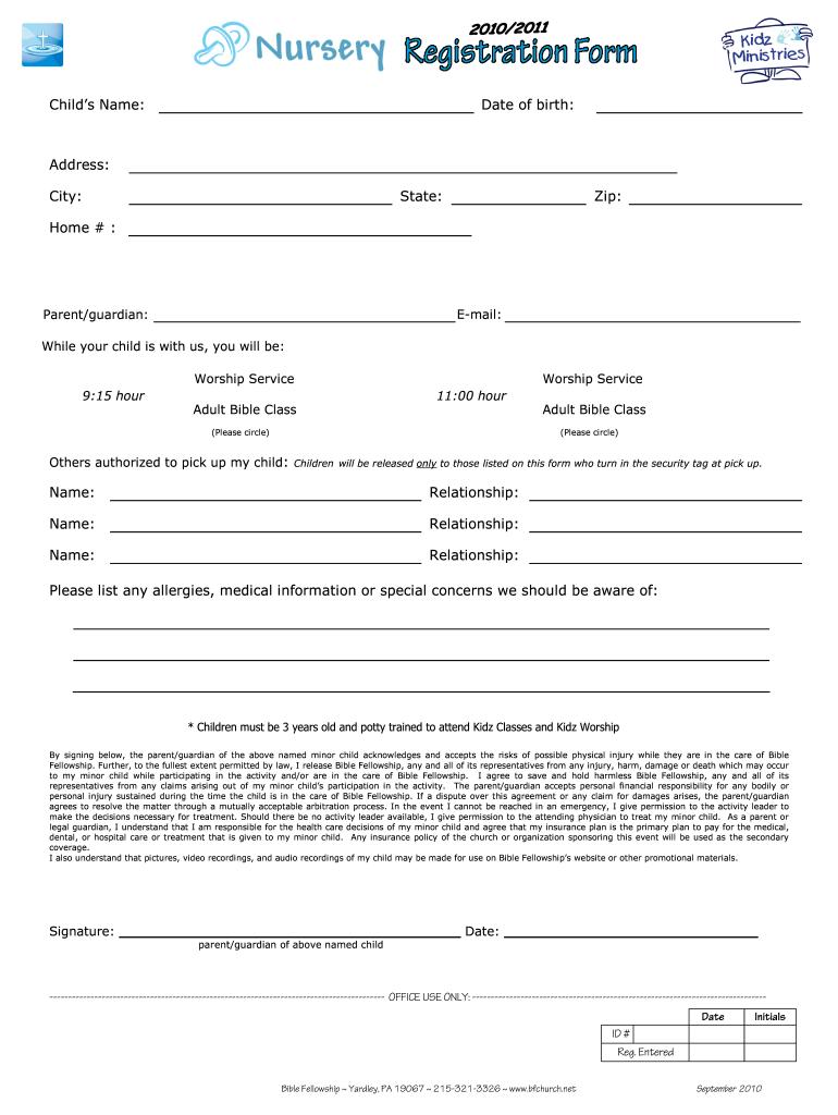 Nursery Registration Form