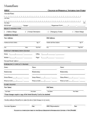 Fillable Online montefiore Change of personal information form ...
