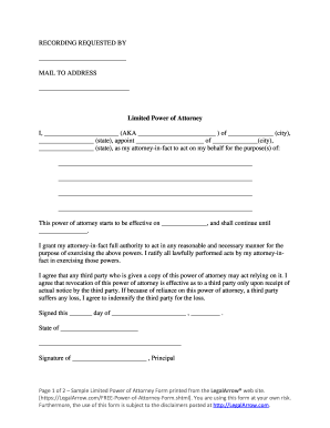 Sample Limited Power of Attorney Form