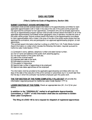 Fillable Online DAS-140 FORM - Golden State Labor Compliance Fax ...