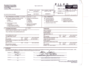 Fillable Online sbcvote California Form 460 Phil Fortino Fax Email ...