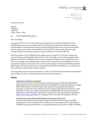 Healthy Connections Letterhead Template - SC DHHS