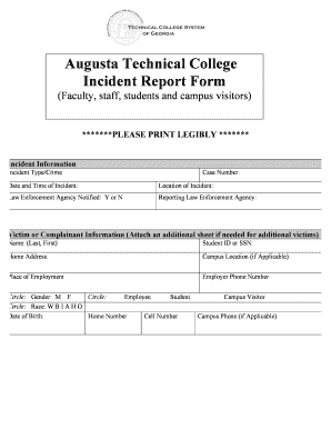 Fillable Online augustatech Augusta Technical College Incident ...
