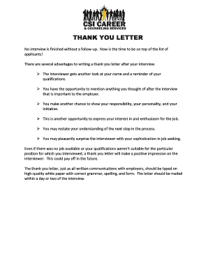 THANK YOU LETTER - career csi